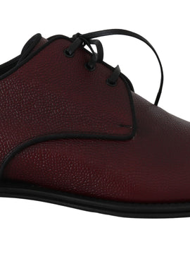 Dolce & Gabbana Bordeaux Leather Derby Dress Formal Shoes