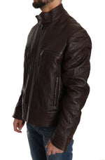 Trussardi Brown Leather Biker Zipper Motorcycle Mens Jacket - Men - Apparel - Outerwear - Jackets - Trussardi | Gethuda Fashion