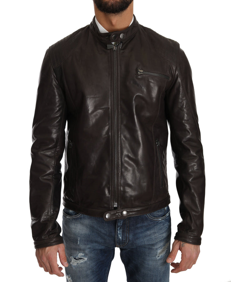 Trussardi Brown Leather Biker Zipper Marrone Mens Jacket - Men - Apparel - Outerwear - Jackets - Trussardi | Gethuda Fashion