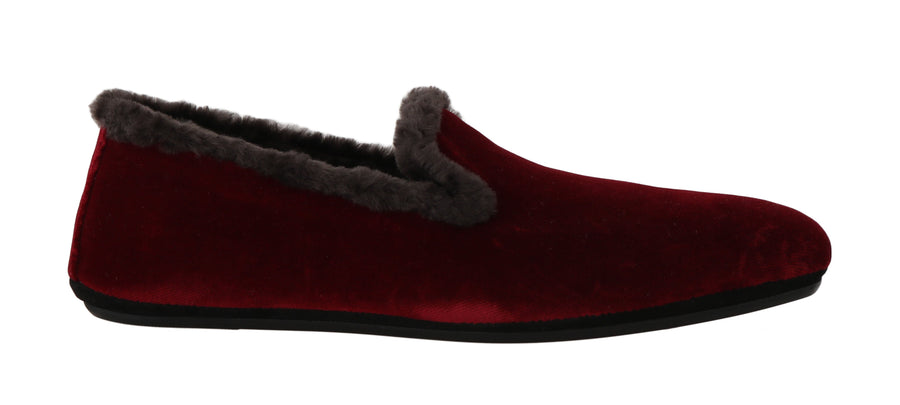 Dolce & Gabbana Bordeaux Velvet Shearling Dress Loafers - Men - Shoes - Loafers Drivers - Dolce & Gabbana | Gethuda Fashion