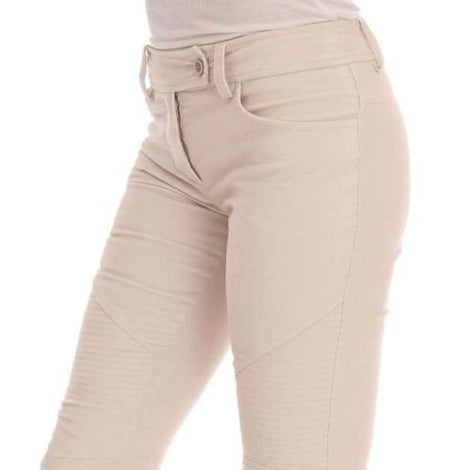 Beige Slim Jeans Corduroy Skinny Pants - Women - Apparel - Denim - Jeans - Ermanno Scervino | Gethuda Fashion