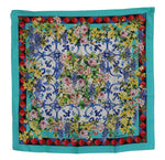 Blue Silk Square Majolica Floral Scarf - Women - Accessories - Scarves - Dolce & Gabbana | Gethuda Fashion