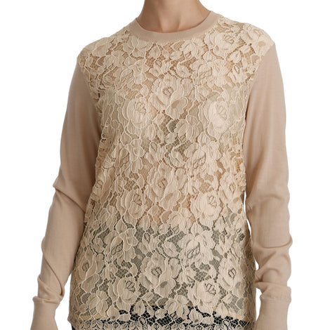 Beige Lace Long Sleeve Top Cashmere Blouse