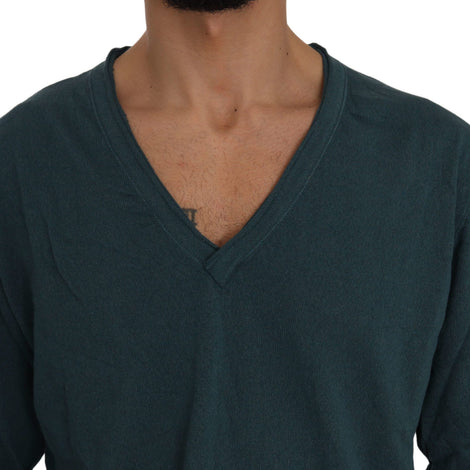 Dolce & Gabbana Blue Cotton V-neck Pullover Top Sweater - Men - Apparel - Sweaters - Pull Over - Dolce & Gabbana | Gethuda Fashion