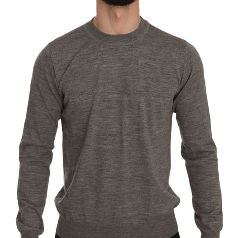 Dolce & Gabbana Brown Gray Wool Crewneck Pullover Sweater - Men - Apparel - Sweaters - Pull Over - Dolce & Gabbana | Gethuda Fashion