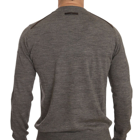 Dolce & Gabbana Brown Gray Wool Crewneck Pullover Sweater