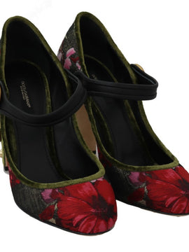 Dolce & Gabbana Green Jacquard Crystal Mary Janes Shoes