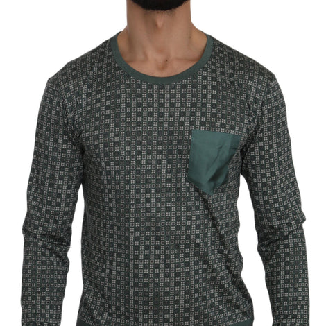 Dolce & Gabbana Green Patterned Round Neck Pullover Sweater