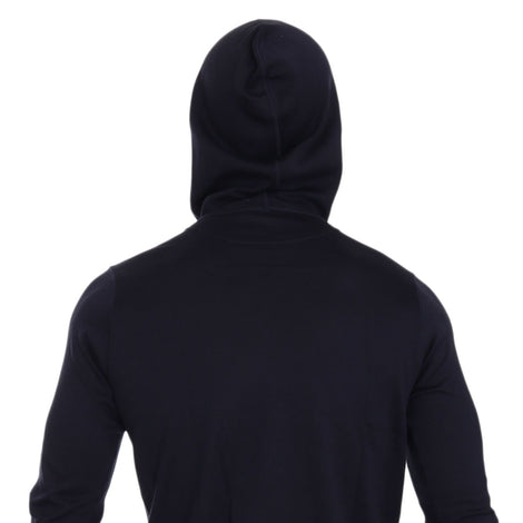 Dolce & Gabbana Blue Silk Hooded Pullover Sweater
