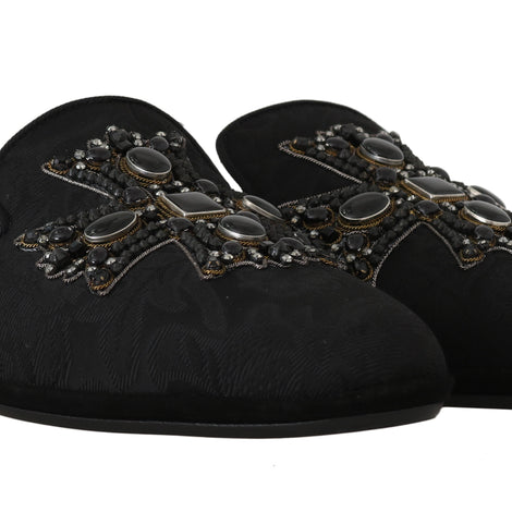 Dolce & Gabbana Black Brocade Crystal Cross  Slippers - Men - Shoes - Sandals - Dolce & Gabbana | Gethuda Fashion