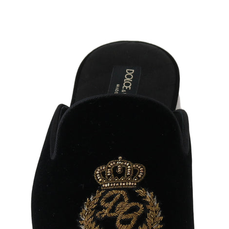 Dolce & Gabbana Black Velvet Gold Crown Slippers - Men - Shoes - Sandals - Dolce & Gabbana | Gethuda Fashion