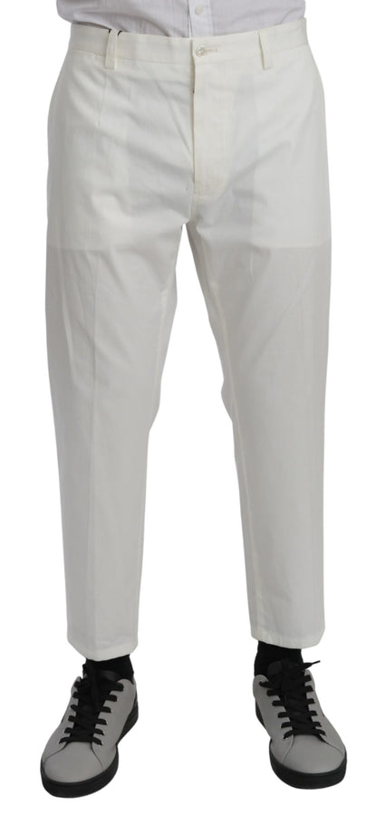 White Casual Trouser Cotton Stretch Pants