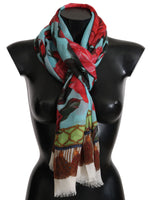 Dolce & Gabbana Blue Red Roses Cashmere Silk Wrap Scarf - Women - Accessories - Scarves - Dolce & Gabbana | Gethuda Fashion