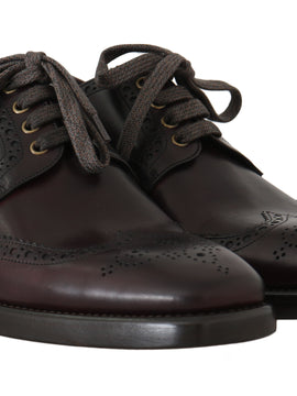 Dolce & Gabbana Bordeaux Leather Derby Wingtip Oxford Shoes