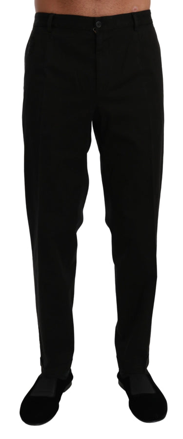 Black Casual Trouser Cotton Stretch Pants