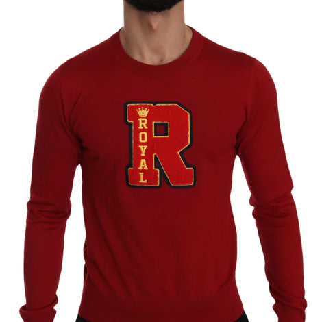 Dolce & Gabbana Red Royal Crown Embroidered Wool Sweater - Men - Apparel - Sweaters - Pull Over - Dolce & Gabbana | Gethuda Fashion