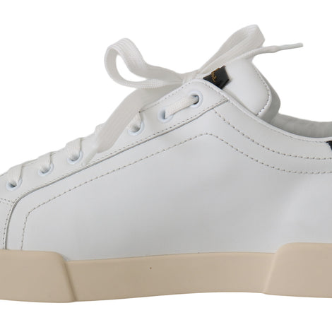 Dolce & Gabbana White Leather Gold Casual Sneakers