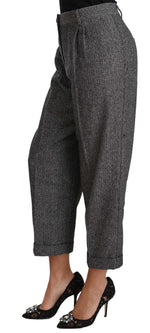 Dolce & Gabbana Gray Wool Pleated Cropped Trouser Pants - Women - Apparel - Pants - Trousers - Dolce & Gabbana | Gethuda Fashion