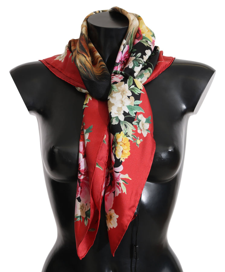 Dolce & Gabbana Lion Multicolor Square Silk Wrap Scarf - Women - Accessories - Scarves - Dolce & Gabbana | Gethuda Fashion