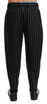 Black White Stripes Casual Trouser Wool Pants