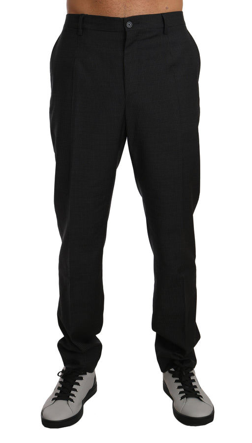 Gray Patterned Wool Formal Trousers Pants - Men - Apparel - Trousers - Dolce & Gabbana | Gethuda Fashion