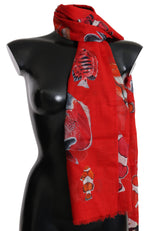 Dolce & Gabbana Red Fish Cotton Print Shawl Wrap Necktie Scarf - Women - Accessories - Scarves - Dolce & Gabbana | Gethuda Fashion
