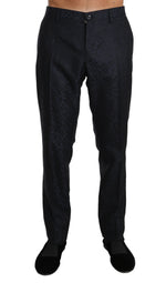 Dolce & Gabbana Blue Jacquard Dress Formal Trousers -  - Dolce & Gabbana | Gethuda Fashion