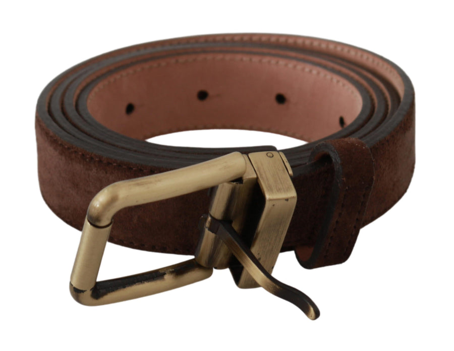 Brown Gold Buckle Waist Suede Leather Belt