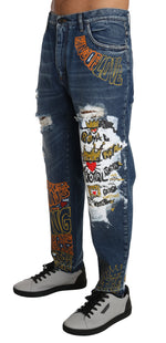 Dolce & Gabbana Blue Cotton LOOSE Royal Print Jeans Pants - Men - Apparel - Trousers - Dolce & Gabbana | Gethuda Fashion