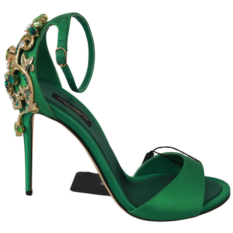 Green Crystals Sandals Shoes