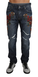 Dolce & Gabbana Blue Cotton 16 CLASSIC Floral Applique Jeans - Men - Apparel - Denim - Jeans - Dolce & Gabbana | Gethuda Fashion