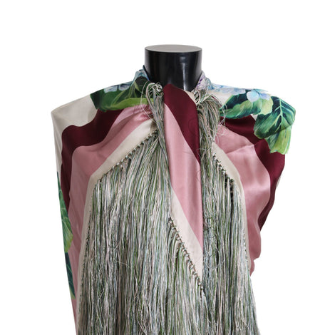 Dolce & Gabbana Hortensia Floral Silk Fringes Shawl Wrap Scarf - Women - Accessories - Scarves - Dolce & Gabbana | Gethuda Fashion