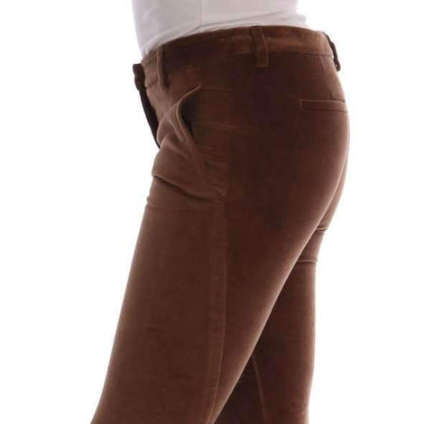 Brown Cotton Slim Fit Cropped Pants -  - Ermanno Scervino | Gethuda Fashion