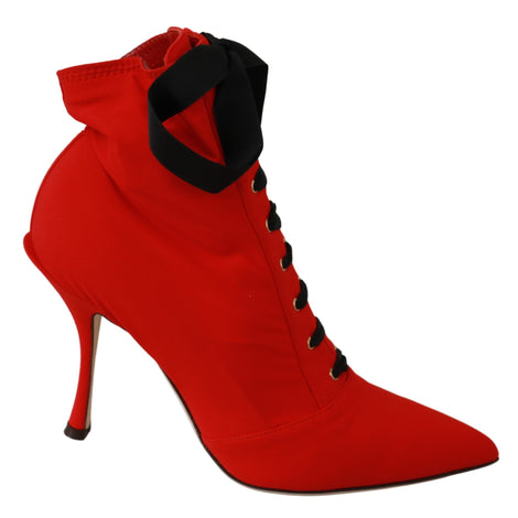 Red Stretch Soft Heels Booties Shoes