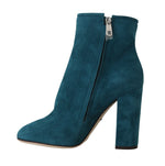Dolce & Gabbana Blue Suede Leather Heels Ankle Boots -  - Dolce & Gabbana | Gethuda Fashion