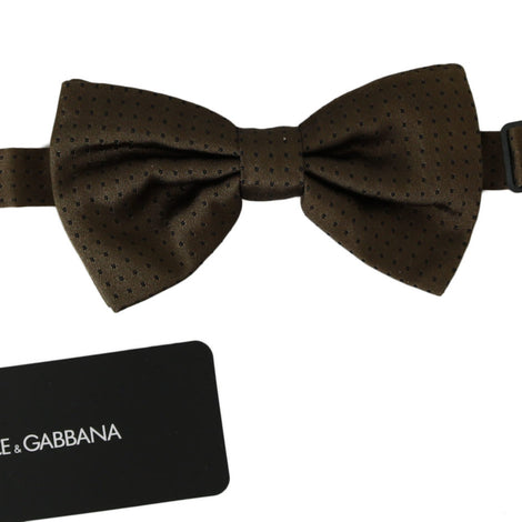 Dolce & Gabbana Brown Polka Dots Silk Adjustable Neck Papillon Men Bow Tie