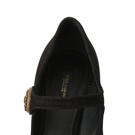 Dolce & Gabbana Black Suede Leather Mary Jane