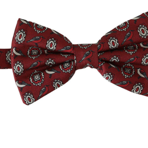 Dolce & Gabbana Red Birds Silk Adjustable Neck Papillon Bow Tie