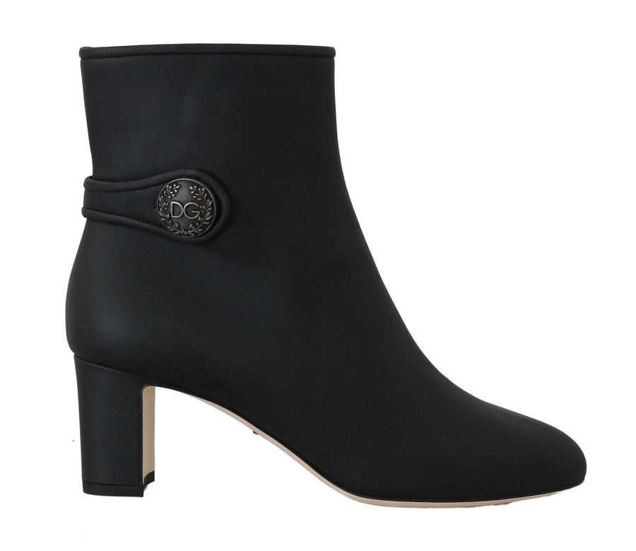 Dolce & Gabbana Black Leather DG Logo Heels Booties -  - Dolce & Gabbana | Gethuda Fashion
