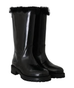 Dolce & Gabbana Black Leather Lapin Fur Boots -  - Dolce & Gabbana | Gethuda Fashion
