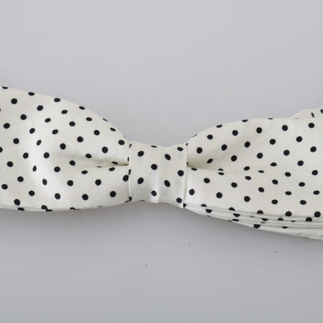 Dolce & Gabbana Men White Dotted Silk Adjustable Neck Papillon Bow Tie