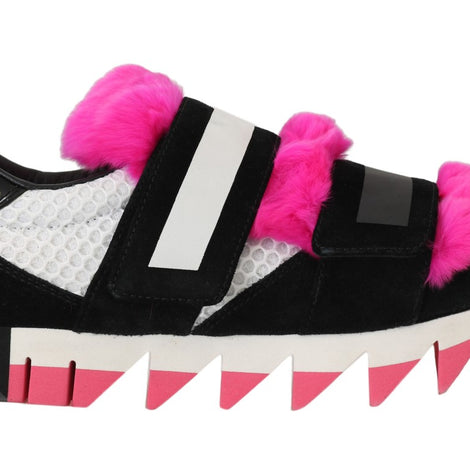 Black Leather Pink Fur Shoes Sneakers - Women - Shoes - Sneakers - Dolce & Gabbana | Gethuda Fashion