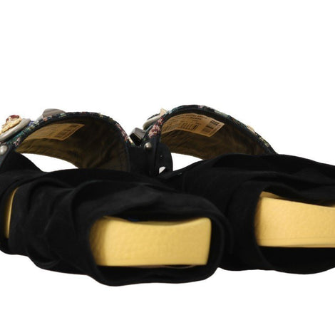 Dolce & Gabbana Black Yellow Crystal Logo Strap Slides - Women - Shoes - Flats - Dolce & Gabbana | Gethuda Fashion
