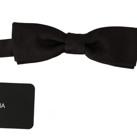 Dolce & Gabbana Men Dark Brown Silk Adjustable Neck Papillon Bow Tie