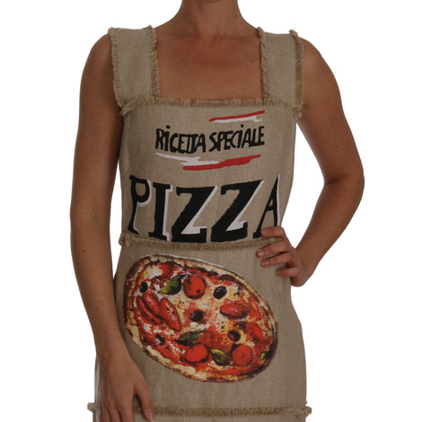 Dolce & Gabbana Beige PIZZA Italiana A-line Shift Dress