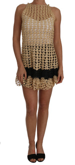 Dolce & Gabbana Beige Knitted Ricamo Sheer Viscose Dress