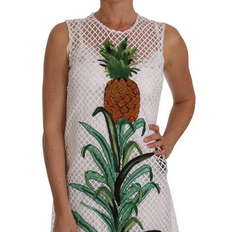 Dolce & Gabbana White Pineapple Sequined Applique Dress