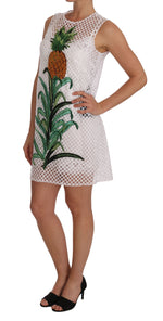 Dolce & Gabbana White Pineapple Sequined Applique Dress - Women - Apparel - Dresses - Casual - Dolce & Gabbana | Gethuda Fashion