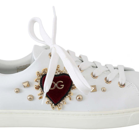 Dolce & Gabbana White Leather Gold Red Heart Sneakers - Women - Shoes - Sneakers - Dolce & Gabbana | Gethuda Fashion