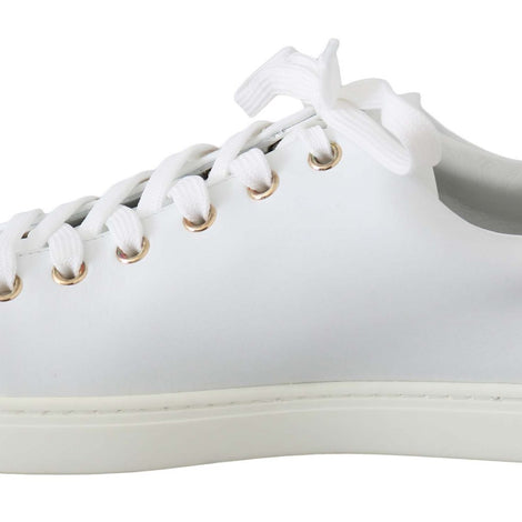 Dolce & Gabbana White Leather Gold Red Heart Sneakers